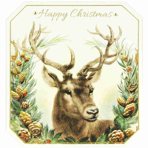 Vintage Christmas card featuring a stag surrounded by a Christmas wreath finished with red diamanté detailing.