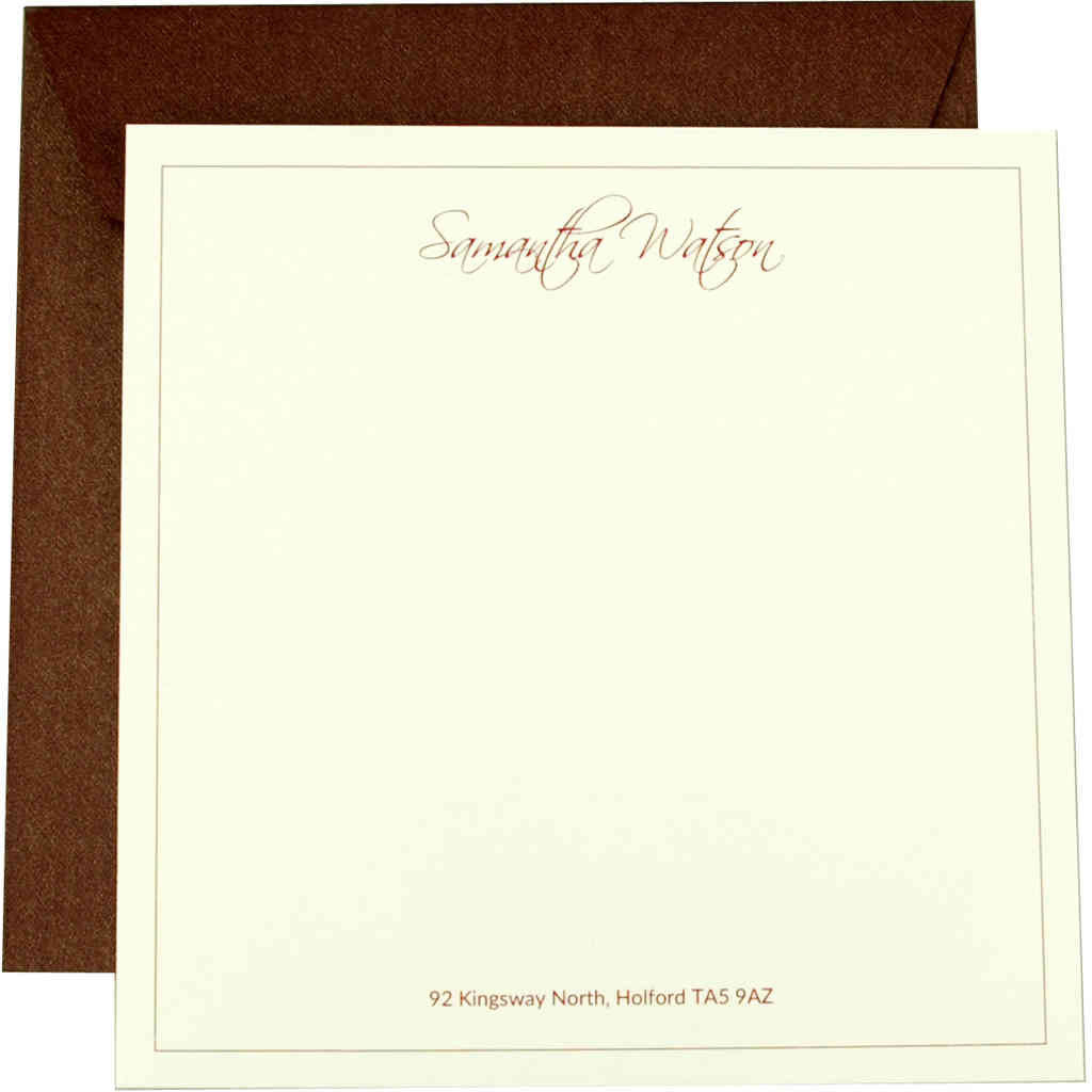 Personalisable correspondence cards by Sandra Muir Design in burgundy and cream