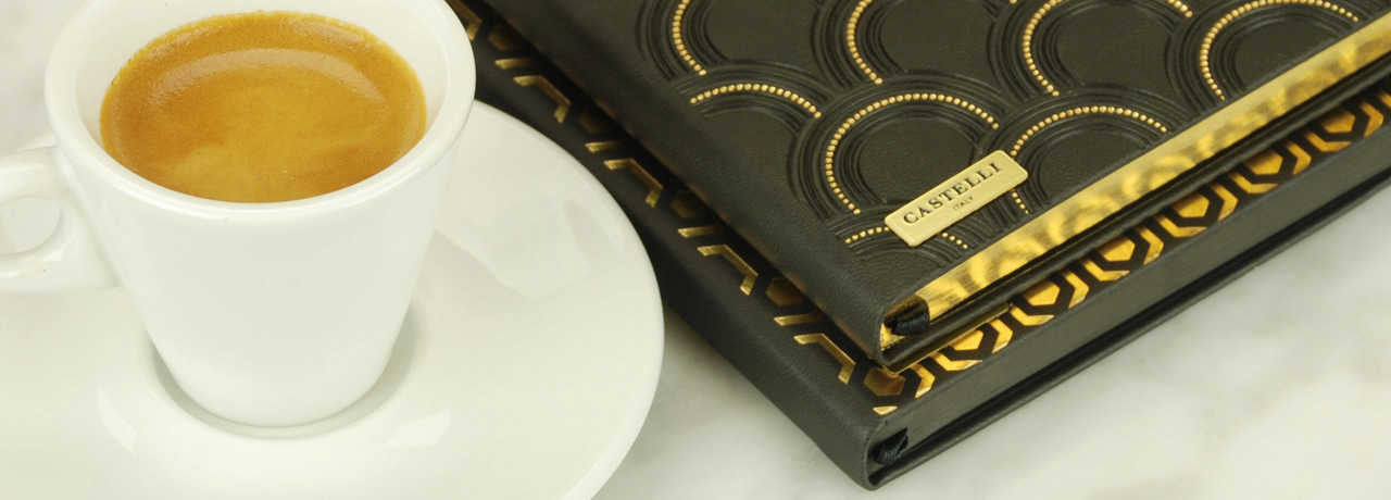 Italian stationery notebooks from Castelli black and gold