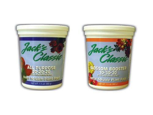 Jack's Classic Blossom Boosteer 10-30-20 and All Purpose 20-20-20 Fertilizers, 1.5 Pounds Each