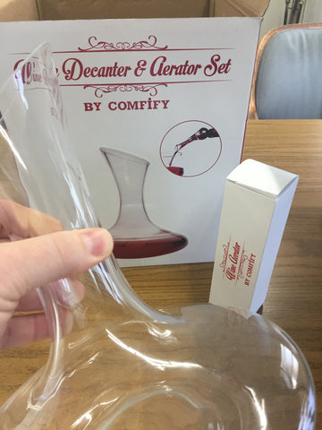 Wine Decanter + Bonus Wine Aerator Set - Premium Artisan Wine Carafe, Lead Free Glass for Delicious Taste & Smooth Pour - Wine Enthusiast Gift