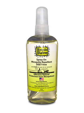 All Natural- DEET FREE- 4 OZ Spray On Mosquito Repellent