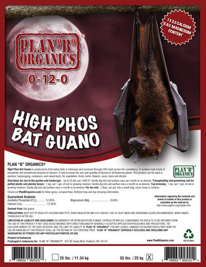 "Plan ""B"" Organics® High Phos Bat Guano 0-12-0 5 pounds."