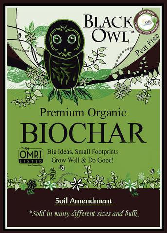 Black Owl Biochar 1 Cubic Foot  ORMI Listed.