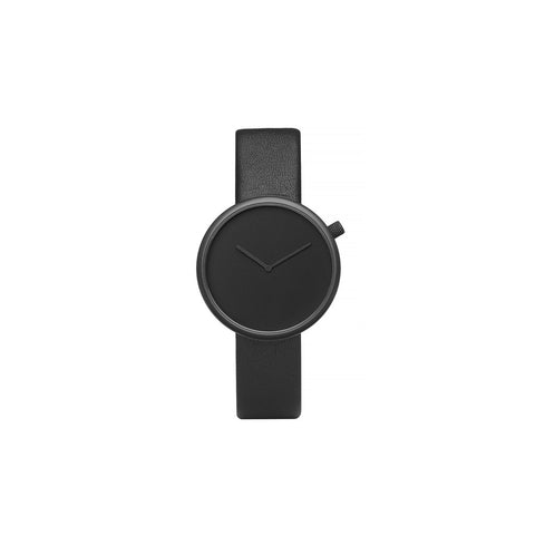 Bulbul Ore 01 Black Steel on Black Italian Leather Minimalist Watch O01