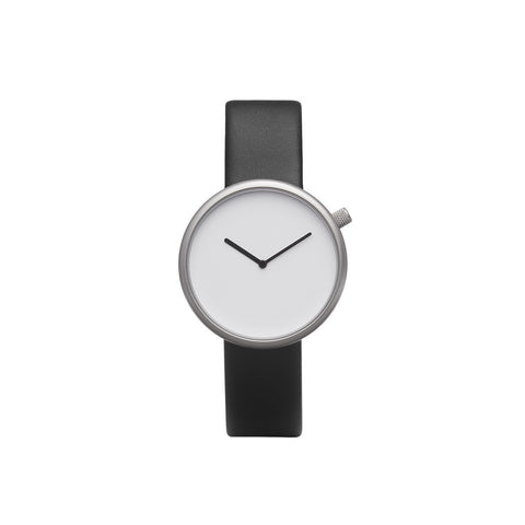 Bulbul Ore 02 Silver Steel on Black Italian Leather Minimalist Watch O02