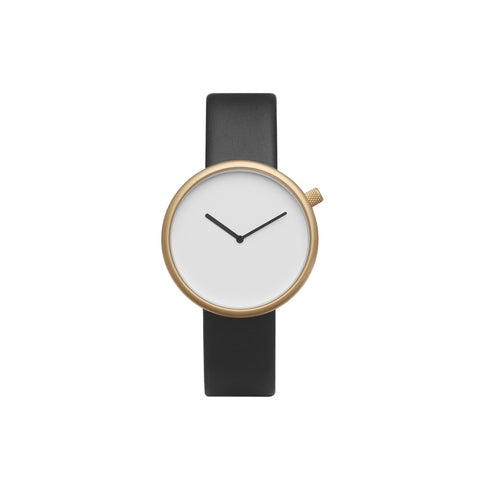 Bulbul Ore 07 Matte Golden Steel on Black Italian Leather Minimalist Watch O07