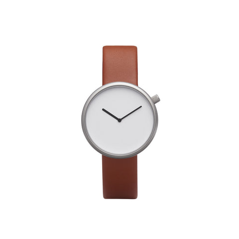 Bulbul Ore 03 Silver Steel on Brown Italian Leather Minimalist Watch O03