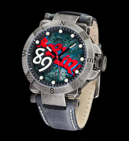 Berlin Wall Watch – 48mm Colored Dial – Leather