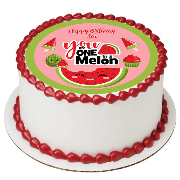 One in a Melon cake topper