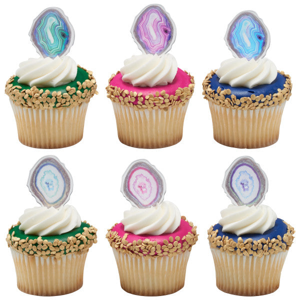 Agate cupcake picks and rings