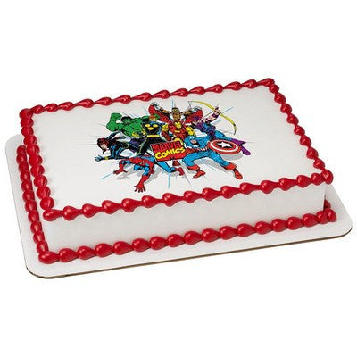 Marvel Comics edible image cake and cupcake toppers