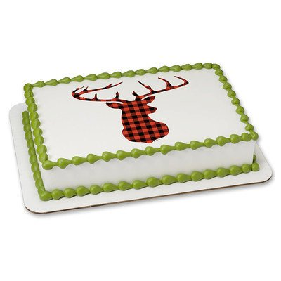 Red Plaid Christmas cake topper
