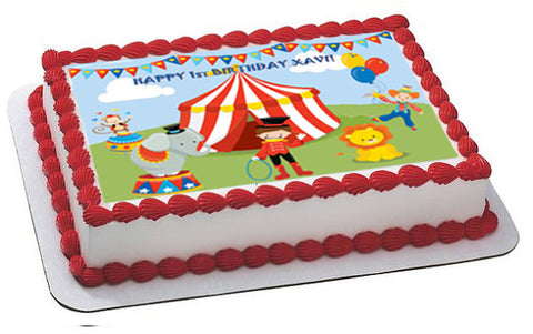 Circus party edible cake topper