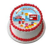 Firefighter edible cake and cupcake toppers