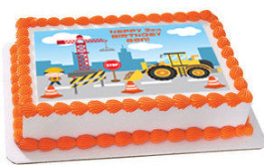 Construction edible cake and cupcake toppers