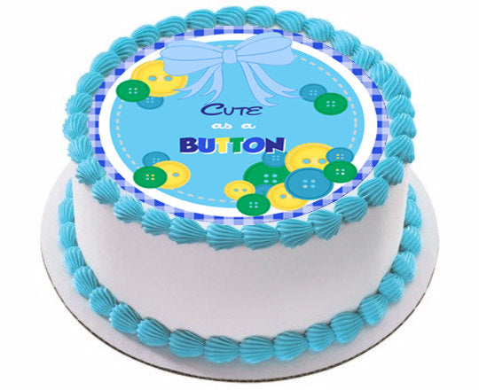 Cute as a button baby shower cake topper