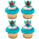 Aquaman cupcake picks and rings