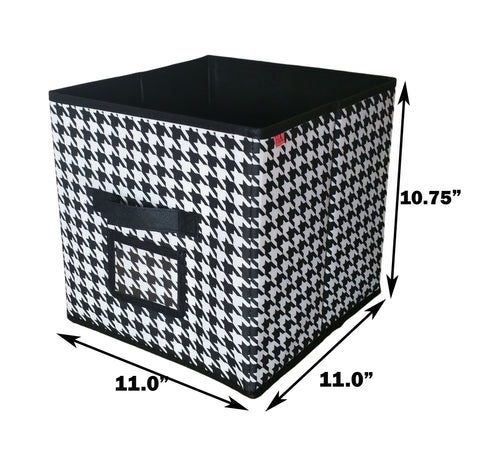 Fabric Foldable Storage Cube Closet Organizer Bin (6 Pack Hound Tooth)