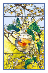 Parakeets and Goldfish Bowl inspired by Louis Comfort Tiffany  Counted Cross Stitch or Counted Needlepoint Pattern