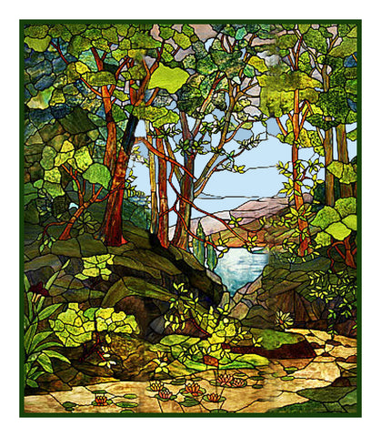 View of the Bay through the Woods inspired by Louis Comfort Tiffany  Counted Cross Stitch Pattern