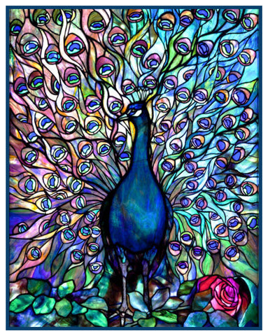Vivid Peacocks Glory inspired by Louis Comfort Tiffany Counted Cross Stitch Pattern DIGITAL DOWNLOAD