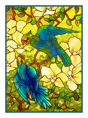 The Pair of Parrot Birds inspired by the work of Art Nouveau and Stained Glass Artist Louis Comfort Tiffany  Counted Cross Stitch Pattern