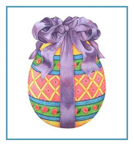 Vintage Decorated Easter Egg and Bow Counted Cross Stitch Pattern