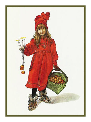 Brita with a Basket of Apples by Swedish Artist Carl Larsson Counted Cross Stitch or Counted Needlepoint Pattern