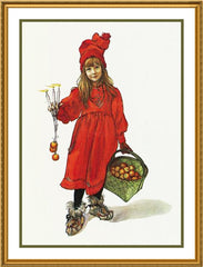 Brita with a Basket of Apples by Swedish Artist Carl Larsson Counted Cross Stitch  Pattern - Orenco Originals LLC