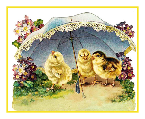 Vintage Easter Baby Chicks Flowers Umbrella Counted Cross Stitch Pattern