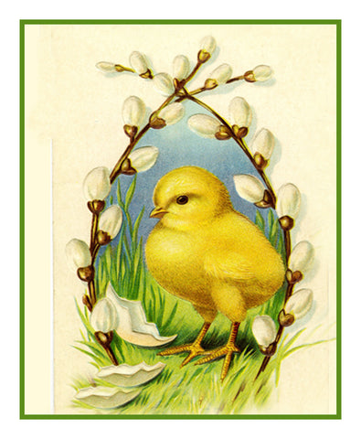 Vintage Easter Baby Chick Willows Counted Cross Stitch Pattern