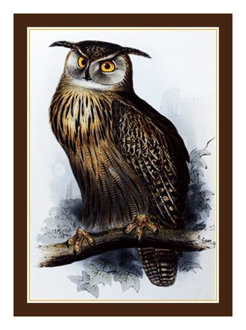 Eagle Owl Bird Illustration by John James Audubon Counted Cross Stitch Pattern