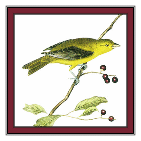Scarlet Tanager Bird Illustration by John James Audubon Counted Cross Stitch Pattern