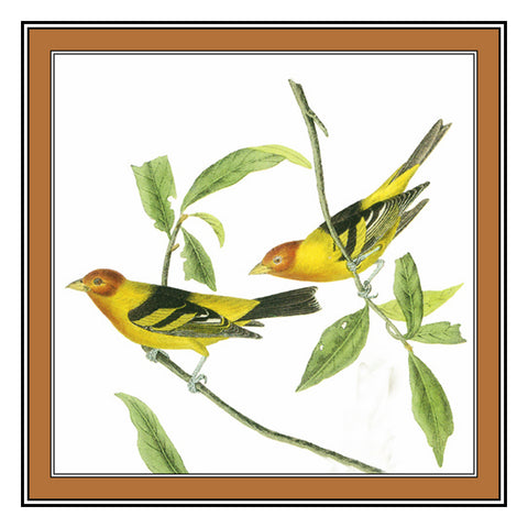 Pair of Scarlet Tanager Bird Illustration by John James Audubon Counted Cross Stitch Pattern