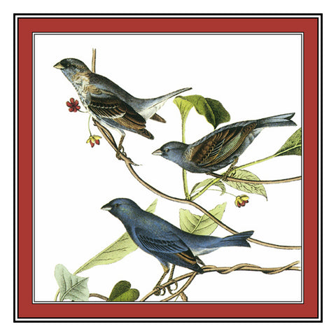 Indigo Buntings Bird Illustration by John James Audubon Counted Cross Stitch Pattern