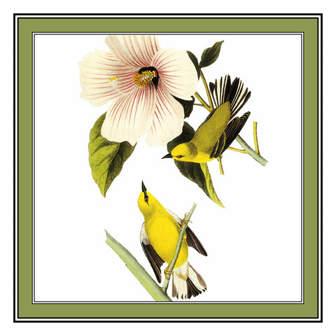Pair of Golden Warblers Bird Illustration by John James Audubon Counted Cross Stitch Pattern
