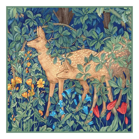 Forest Deer by Henry Dearle and William Morris Design Counted Cross Stitch Pattern