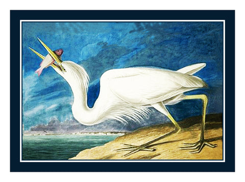Great White Heron Bird Illustration by John James Audubon Counted Cross Stitch or Counted Needlepoint Pattern