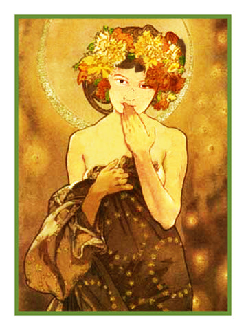 The Moon and Stars by Alphonse Mucha Counted Cross Stitch Pattern