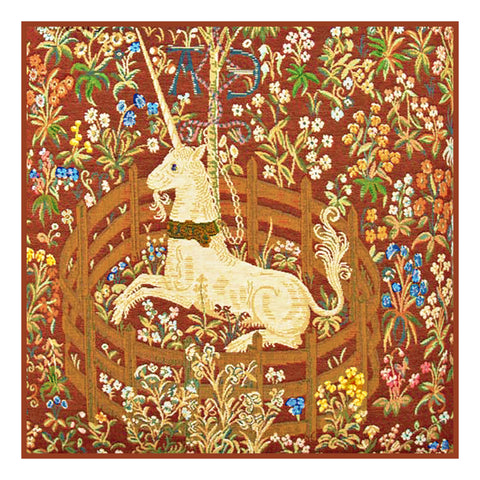 Unicorn in Captivity Red Background from The Hunt for the Unicorn Tapestries Counted Cross Stitch Pattern