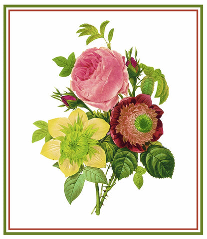 Spring Flower Bouquet Inspired by Pierre-Joseph Redoute Counted Cross Stitch Pattern DIGITAL DOWNLOAD
