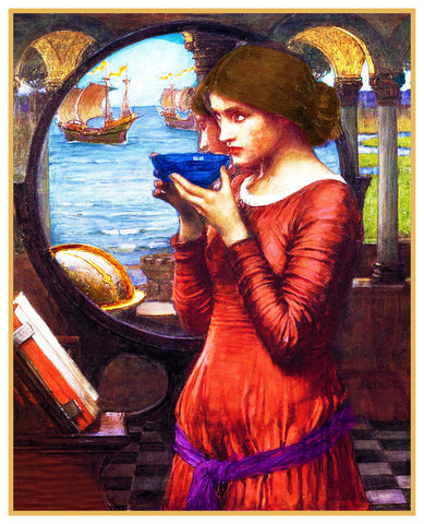Destiny inspired by John William Waterhouse Counted Cross Stitch or Counted Needlepoint Pattern