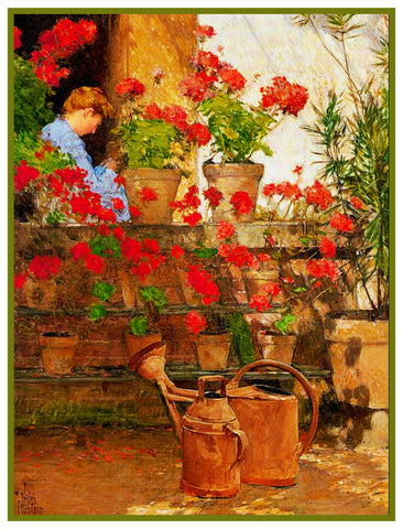 Geranium Flowers by American Impressionist Painter Childe Hassam Counted Cross Stitch Chart