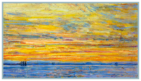 Summer Evening Sunset at Sea by American Impressionist Painter Childe Hassam Counted Cross Stitch Pattern