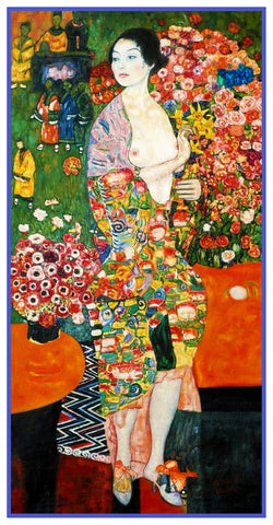 Art Nouveau Artist Gustav Klimt's The Dancer Counted Cross Stitch or Counted Needlepoint Pattern