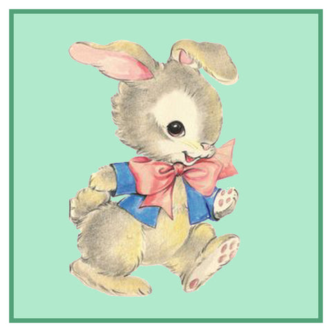 Contemporary Easter Bunny Walking Green Background Counted Cross Stitch Pattern