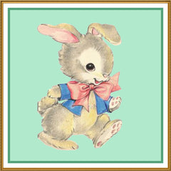 Contemporary Easter Bunny Walking Green Background Counted Cross Stitch or Counted Needlepoint Pattern