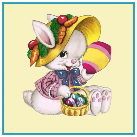 Vintage Easter Bunny with Easter Bonnet Counted Cross Stitch Pattern