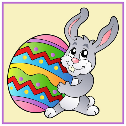 Contemporary Easter Bunny with Decorated Easter Egg Counted Cross Stitch Pattern